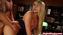 Throated sorority babe doggystyled in office