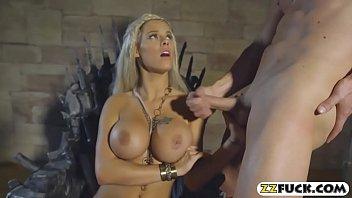 Feisty goddess got jizz on her big boobs after fucking