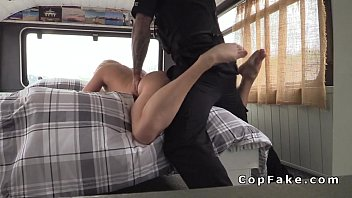 Blonde gets fake cops cock up her ass in her bus