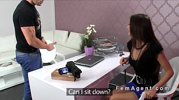 Fully naked guy bangs female agent on the casting couch