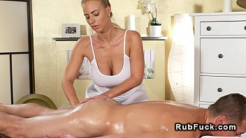 Huge tits masseuse rides big dick in reverse cowgirl