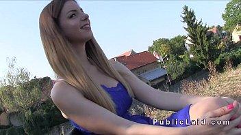Teen flashing beautiful big boobs in public