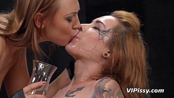 Cosplay girls enjoy lesbian golden showers