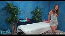 Nasty brunette lingerie massage ends creampie