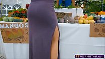 Customer fucks the farmers wife in public at the market