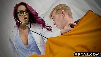 Prison nurse helps big dick inmate out with his huge boner
