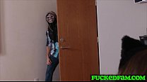 Stepbro tricks sis and friend to fuck by using a holloween mask