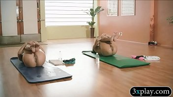 Trainer and sexy babes does yoga while theyre all naked