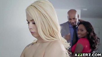 Petite blonde Elsa Jean hot 3some interracial fuck