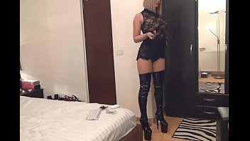 cam girl in  tights boots