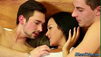 Babe rides bisexual cock
