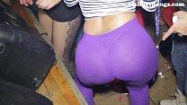 See-through leggings visible thong booty 3