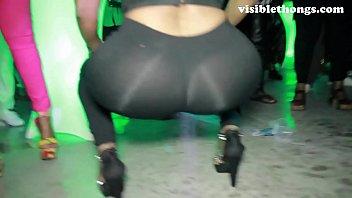 See-through leggings visible thong booty 12