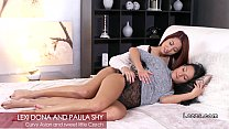 Redhead Asian and brunette Czech lesbos oral sex