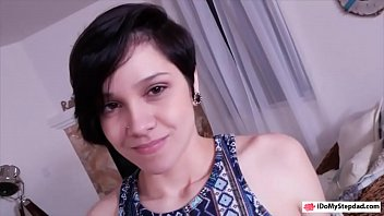Short hair teen posed naked and screwed by her stepdad
