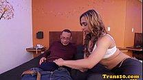 Tgirl hooker cums during paid anal fun 6 min