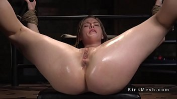 Blonde learning bdsm lesson with electricity
