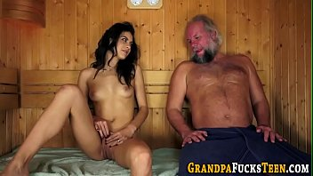 Slut sucks old grandad