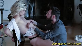 Bound babe gags on cock