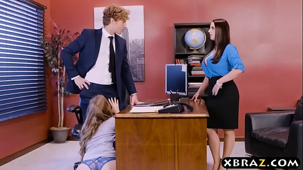 Office threesome with two bosses and a sexy employee