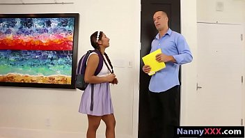 Cutie nanny Monica gives head and gets drilled by nasty man