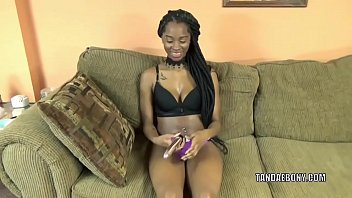 Black hottie Lola Venom does her ebony pussy with a dildo