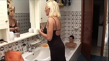 Perverse mom spies and fucks her son