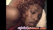 Hot ebony chick enjoys as she masturbates with some toys