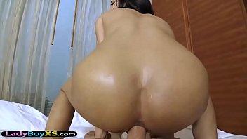 Asian ladyboy with perfect skin gets fucked bareback