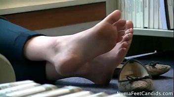 Beautiful Girl Candid Feet In Library