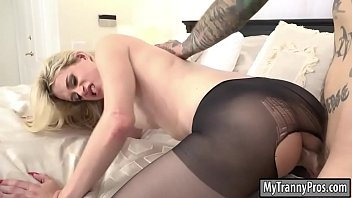 Busty blonde TS Nikki Vicious ass banged
