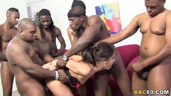 Interracial Orgy With BBC Slut Giselle Leon