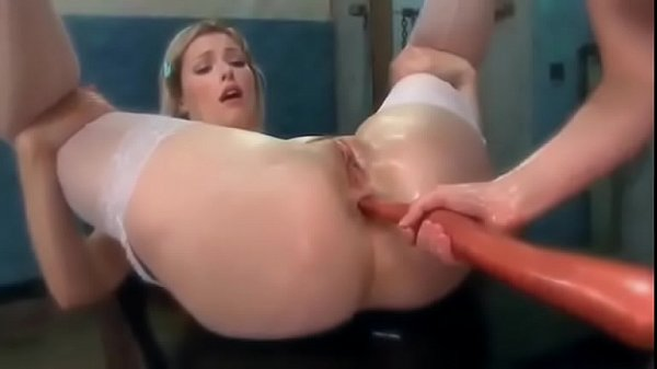 Pretty girl with a long dildo inside