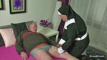 German MILF Nun Fuck With Stranger Old Man 15 min