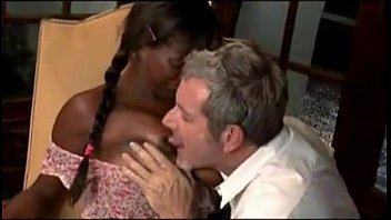Cute black girl ass fucked by old white man