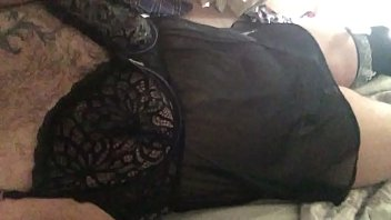Sissy in lingerie playing with tiny clit