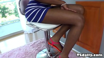 Small titted black tranny and her white lover