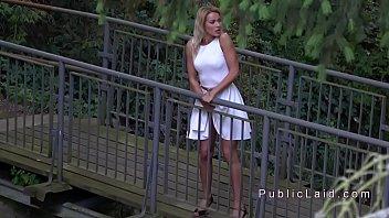 Public agent spies babe masturbating
