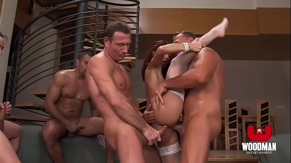 Red Haired bitch gets a Bukkake and Cream pie - HD Gang Bang 23 min