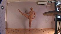 Blonde performer of gymnastics