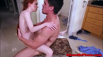 Petite redhead bouncing on huge cock