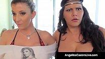 Cuba's #1 Export Angelina Castro & Sara Jay Blow Real Fans!