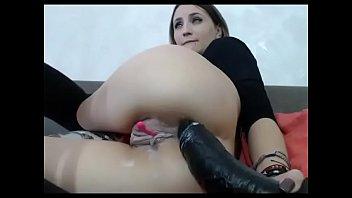 Amateur girl feeling good with big toy anal