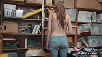 Big tit stealing teen babe busted and fucked