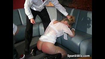 Amateur blonde slut gets spanked by two