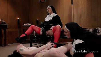 Two dominant nuns anal fucks brunette 5 min