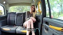 Skinny legs blonde bangs in fake taxi
