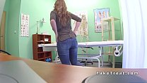 Brunette sits on and rides doctors dick