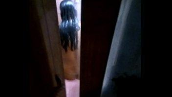 Women taking bath and  her husband's friend taking short by hidden cam