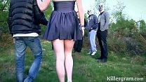 Submissive slut girlfriend in public gangbang